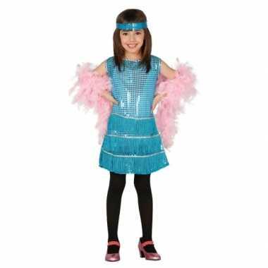 Blauwe pailletten verkleedkleding voor meisjes