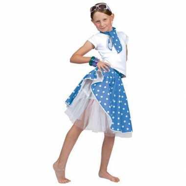 Blauwe rock n roll verkleedkleding met stippen voor meisjes