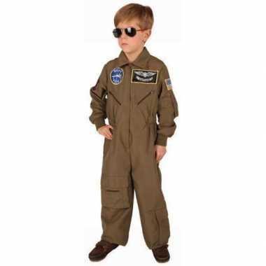 Bruine piloten verkleedkleding voor jongens
