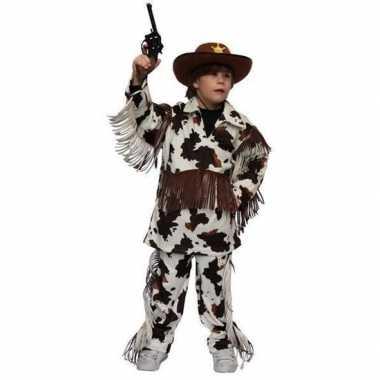 Carnaval cowboy pak met koeienprint voor kinderen