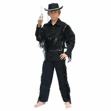 Carnaval cowboy pak zwart voor kinderen