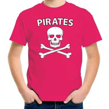 Carnaval foute party piraten t shirt roze voor kids