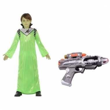 Compleet groen alien koning zharor verkleedkleding voor jongens