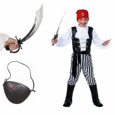Complete verkleed piraten verkleedkleding voor kinderen maat l
