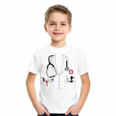 Dokters verkleedkleding t-shirt wit voor kinderen