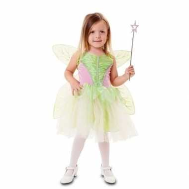 Fee verkleedkleding groen met vleugels voor meisjes