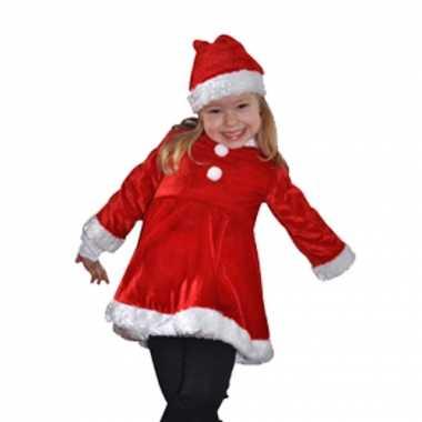 Fluwelen kinder kerst verkleedkleding