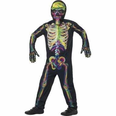 Glow in the dark verkleedkleding skelet voor kinderen