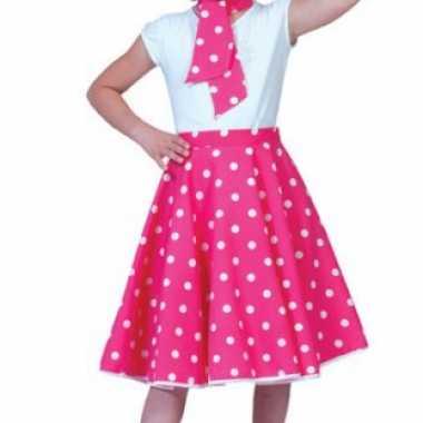 Grease rok roze met stippen voor kids