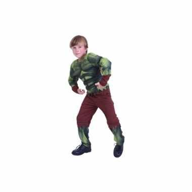 Groen gespierd monster verkleedkleding voor jongens