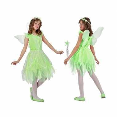 Groen toverfee/elf verkleedkleding met vleugels voor meisjes