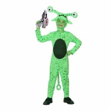 Groene alien verkleedkleding met space gun kind