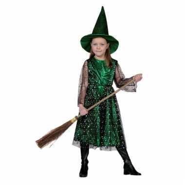 Groene kinder heksen verkleedkleding