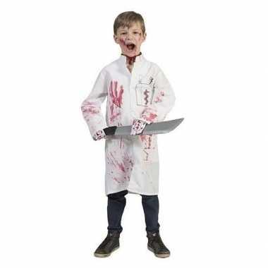 Halloween bebloed doktersjas met dokterslogo voor kinderen