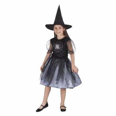 Halloween kinder verkleedkleding heks met spin