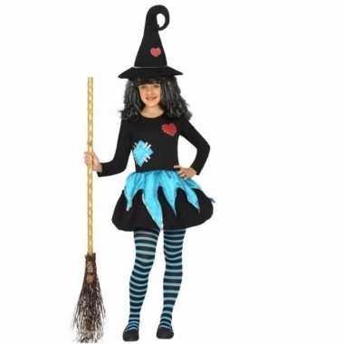 Halloween meisjes verkleedkleding blauw met zwart