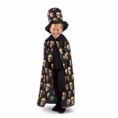 Halloween zwarte cape met hoge hoed voor jongens
