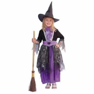 Heksen kinder verkleedkleding zwart/paars