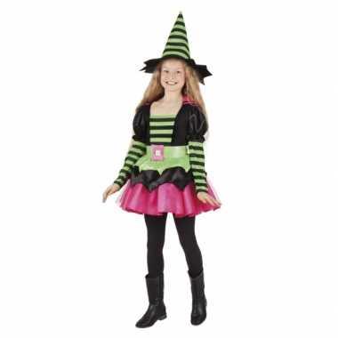 Heksen verkleedkleding groen/roze voor meisjes