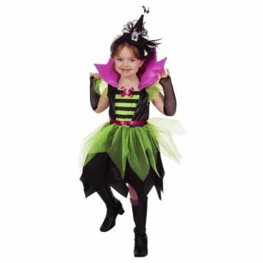 Heksen verkleedkleding groen/zwart voor kinderen