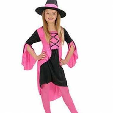 Heksen verkleedkleding meisjes roze