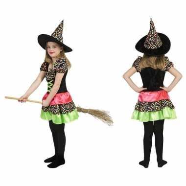 Heksen verkleedkleding met hoed voor meisjes