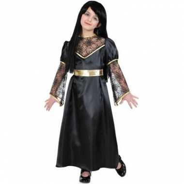 Heksen verkleedkleding zwart/goud voor kids