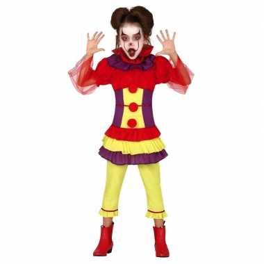 Horror clown verkleed verkleedkleding voor meisjes