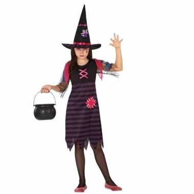 Horror heksen verkleedkleding paars/zwart voor meisjes