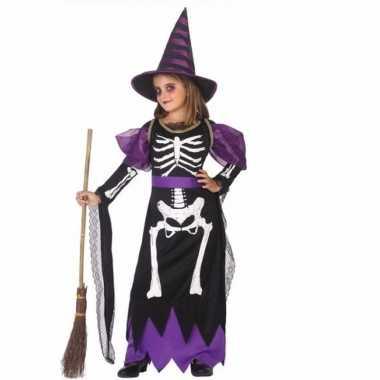 Horror heksen verkleedkleding zwart/paars voor meisjes