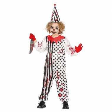 Horrorclown jongens verkleedkleding met bloed