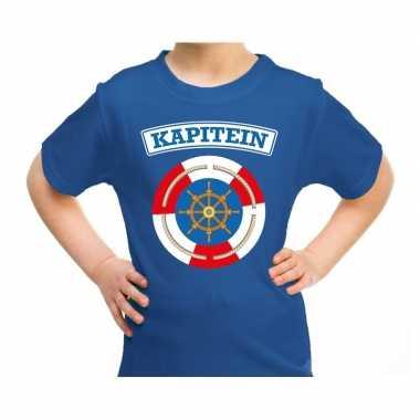 Kapitein carnaval verkleed shirt blauw voor kids