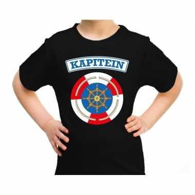 Kapitein carnaval verkleed shirt zwart voor kids