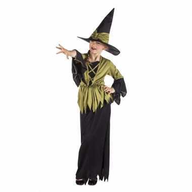 Kinder heksen verkleedkleding heksen verkleedkleding zwart/groen