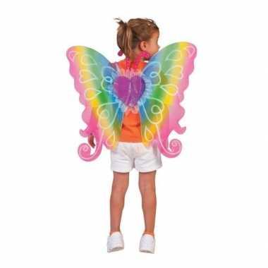 Kinder verkleed vleugels regenboog