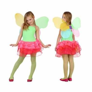 Kinder verkleedkleding vlinder groen/rood