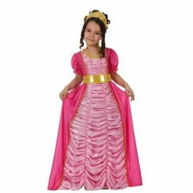 Lange roze prinsessen verkleedkleding voor kinderen