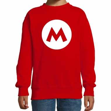 Mario loodgieter carnaval verkleed sweater rood voor kinderen