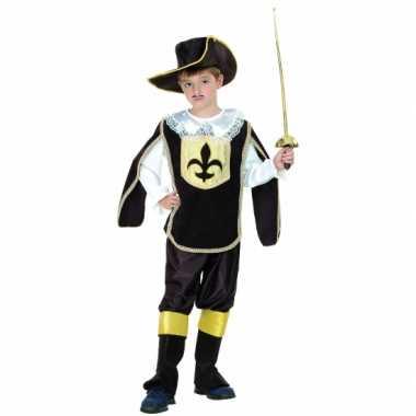 Musketiers verkleedkleding kinderen zwart/goud