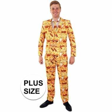 Net pak/ verkleedkleding met snack print voor heren grote maten