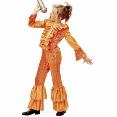 Oranje glitter verkleedkleding voor meisjes
