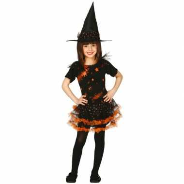 Oranje kinder heksen verkleedkleding met sterren