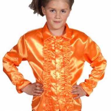 Oranje verkleedkleding met rouches kids
