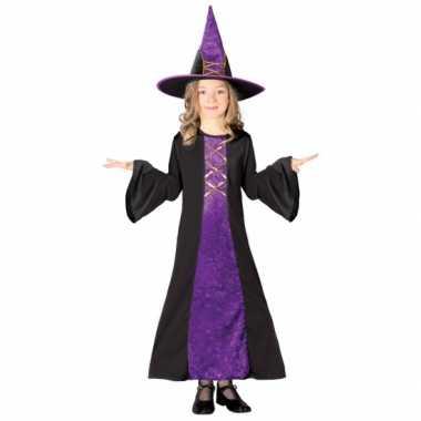 Paarse kinder heksen verkleedkleding