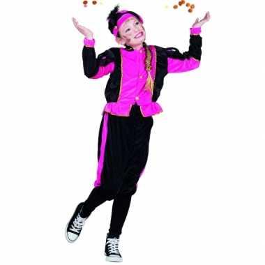 Pieten verkleedkleding fuchsia/zwart voor meisjes