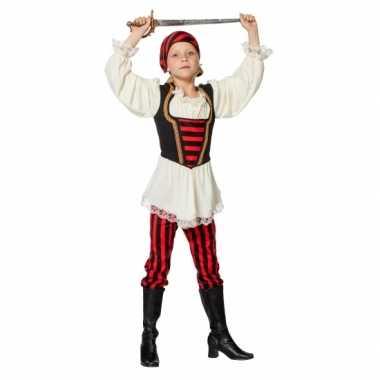 Piraten verkleedkleding rood/zwart voor meisjes