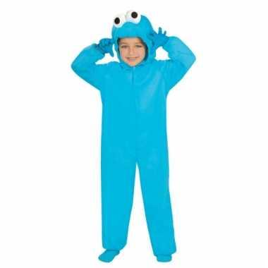 Pluche monster verkleedkleding blauw voor kinderen