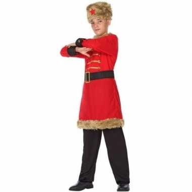 Rood/zwarte kozakken verkleedkleding voor jongens