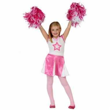 Roze cheerleader verkleedkleding voor meisjes