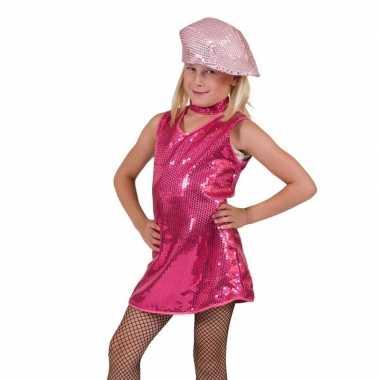 Roze show verkleedkleding pailletten kinderen